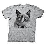 Grumpy Cat Black and White Photo Grey T-Shirt (Medium)