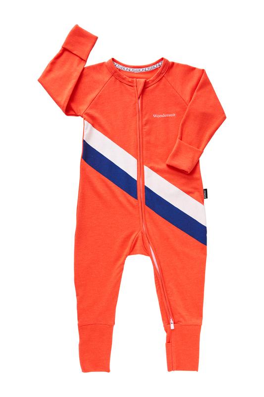 Bonds Sport Zip Wondersuit - Stripe Slay Red (12-18 Months)