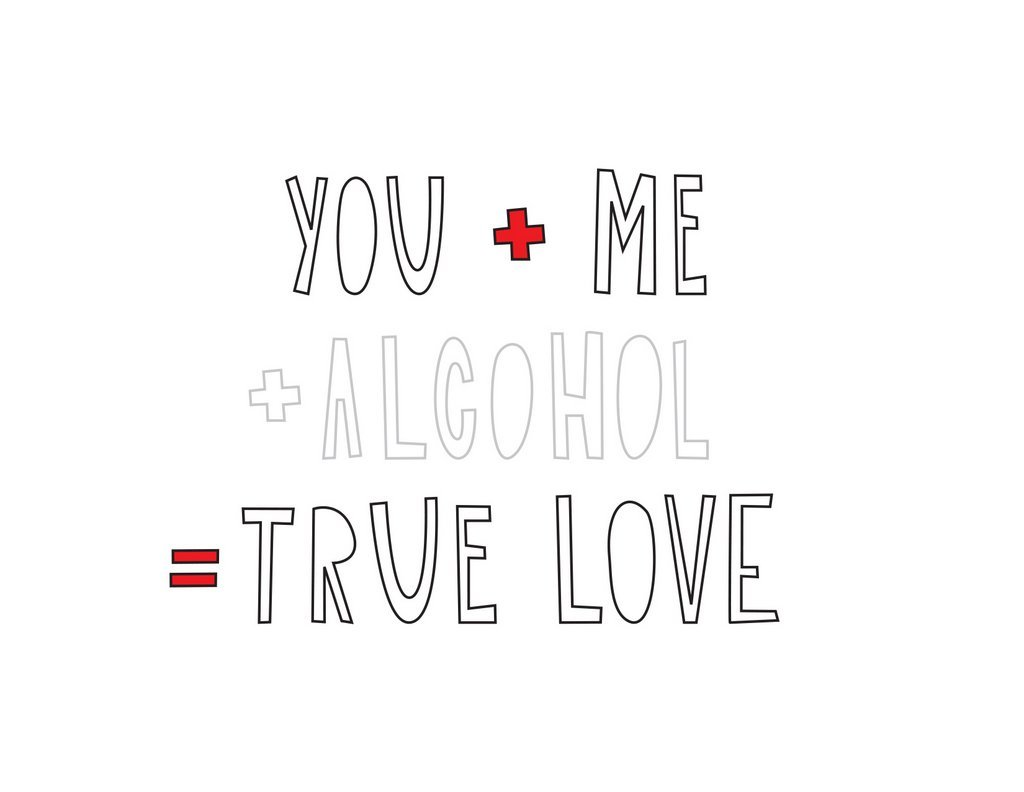 Near Modern Disaster: You + Me + Alcohol - Greeting Card image