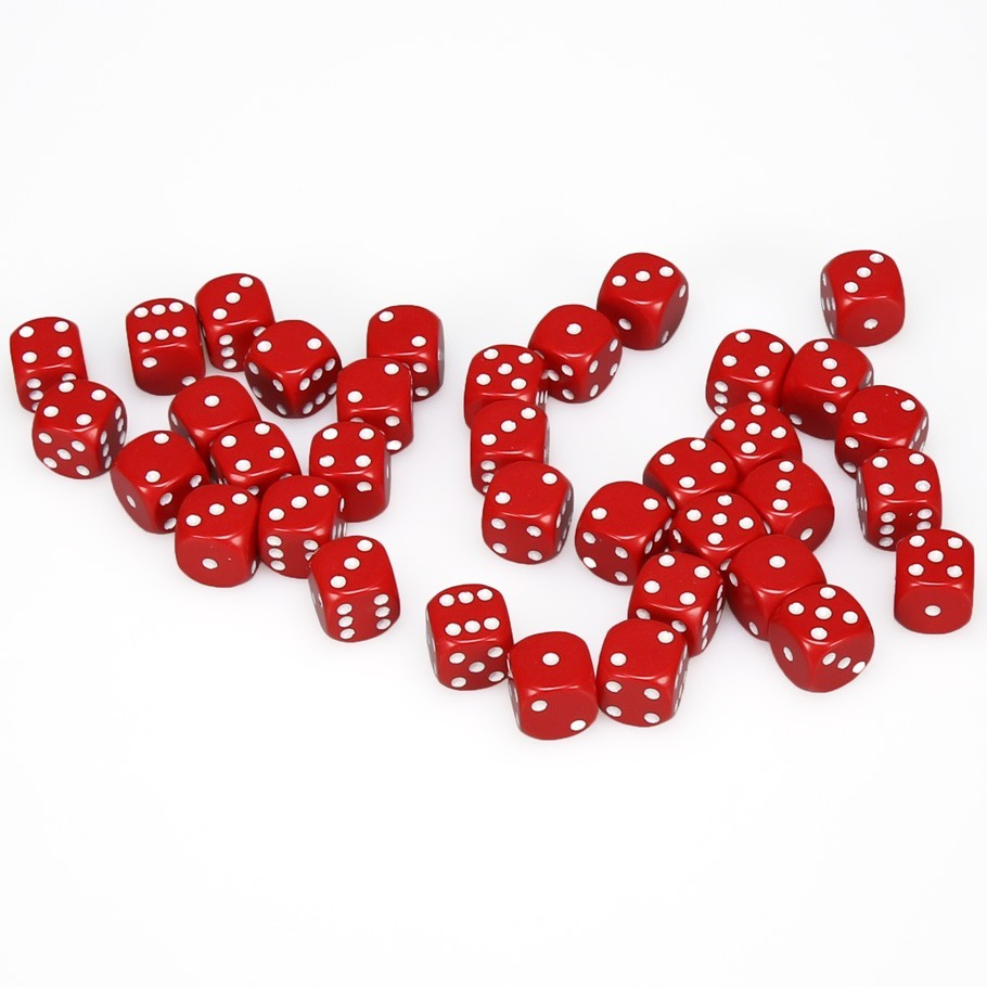 Chessex: D6 Opaque Cube Set (12mm) - Red/White image