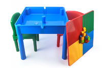 Kids Square 3-in-1 Activity Table With 2 Chairs (Primary)