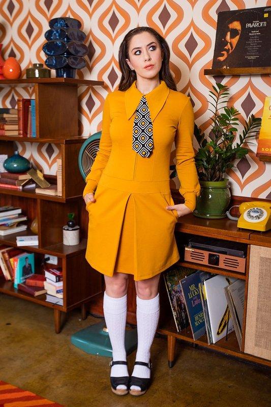 Retrolicious: Twiggy Dress in Mustard Ponte - Small