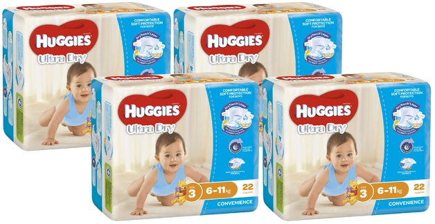 Huggies Ultra Dry Nappies Convenience Value Box - Size 3 Crawler Boy (88)