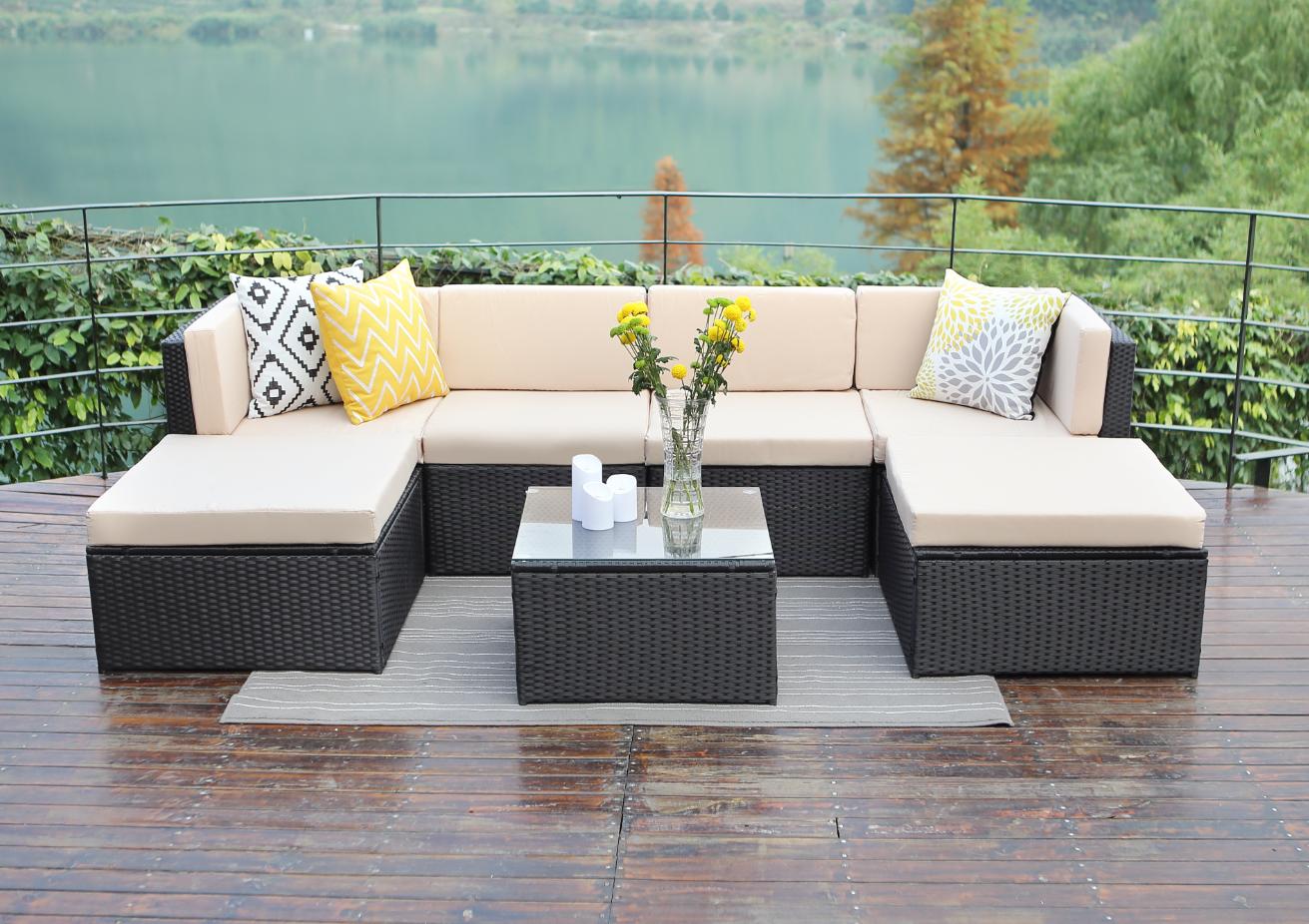 Rattan Wicker Outdoor Sofa Paradise Lounge Set 1 - Beige/Black image