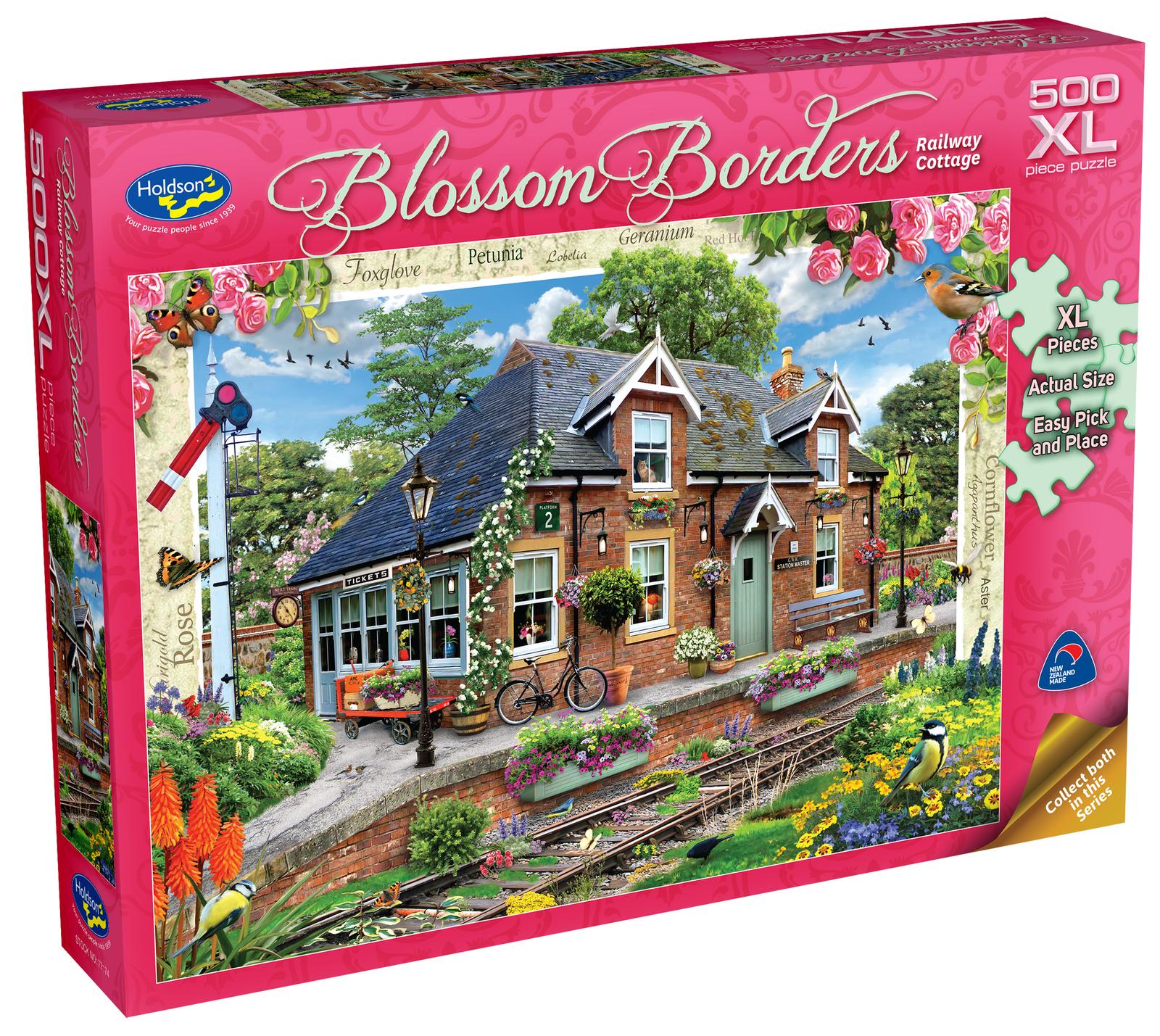 Holdson XL: 500 Piece Puzzle - Blossom Borders (Railway Cottage) image