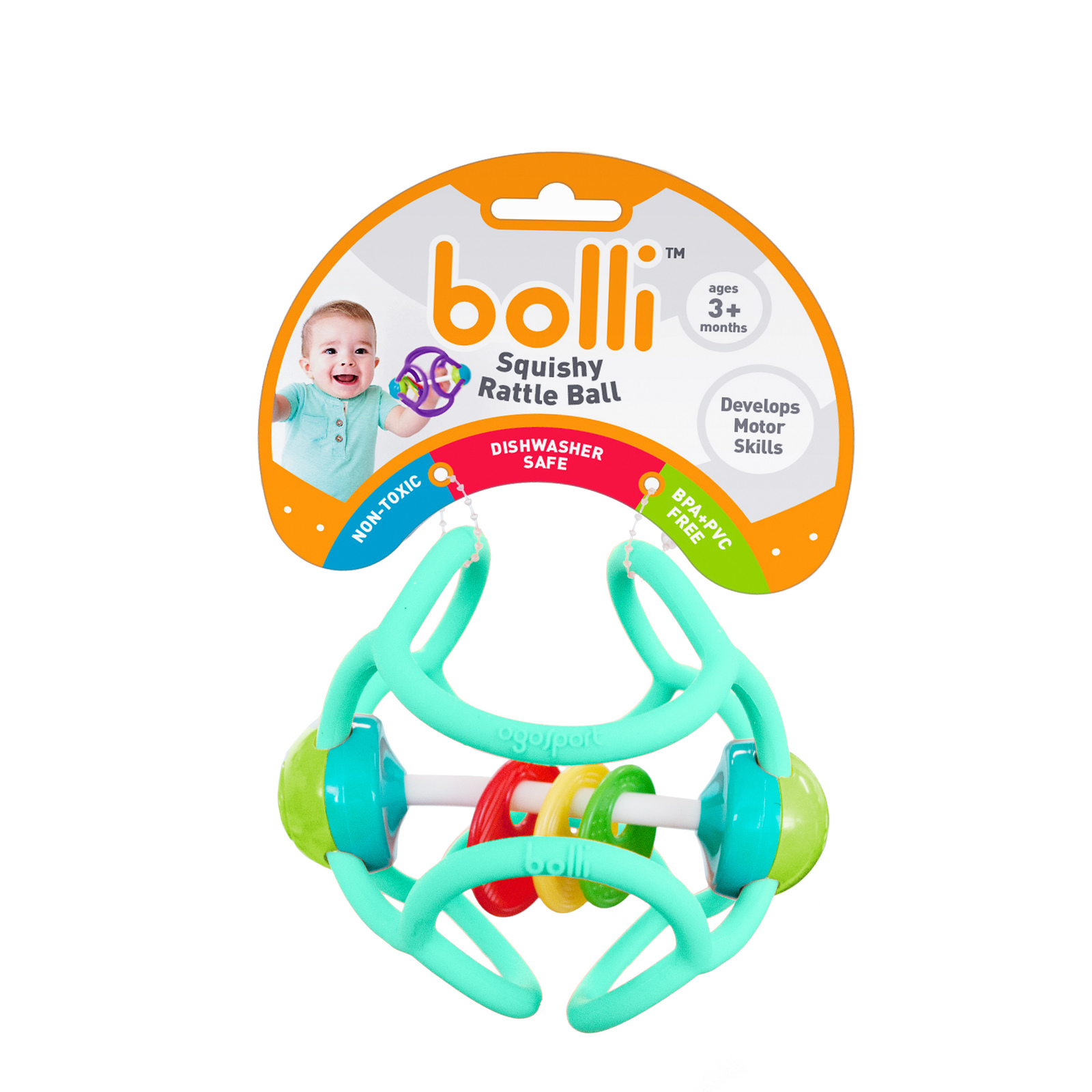 Bolli Ball - Flexible Discovery Rattle Ball (Assorted Colours) image