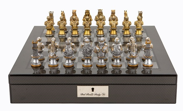 "Dal Rossi: Resin Medieval Warriors - 16"" Chess Set (Carbon Fibre)"