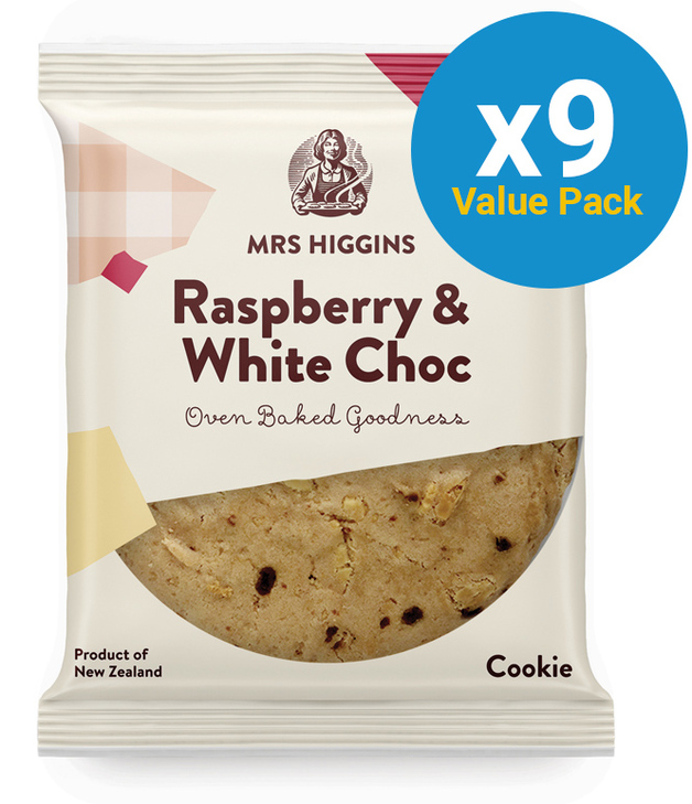 Mrs Higgins: Raspberry & White Choc Cookie (85g) Pack of 9