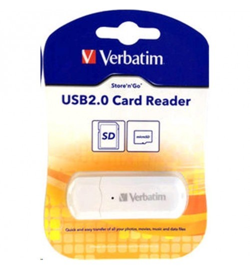 Verbatim USB 2.0 SD & microSD Card Reader (White)