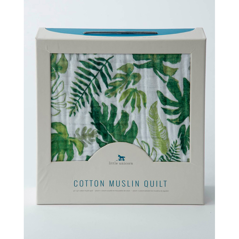 Little Unicorn: Cotton Muslin Quilt - Tropical Leaf image