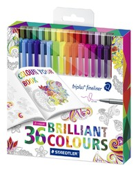 Staedtler Triplus Fineliner Assorted Colours Pkt36