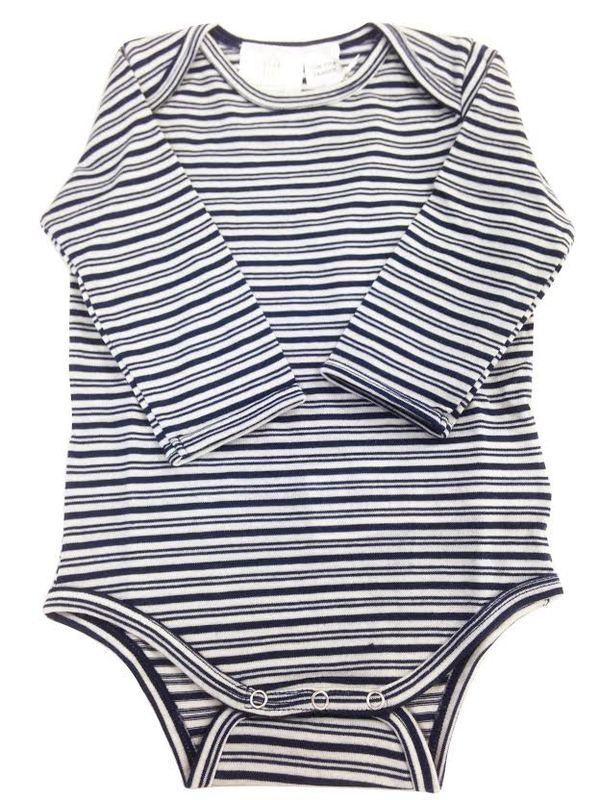 Babu Merino Bodysuit - Navy Stripe (0-3 Months)