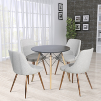Fraser Country Modern Fabric Dining Chair with Golden Chrome Legs Set of 2 - Light Grey