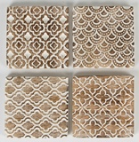Moroccan Geometrics - Rustic Wood Coaster Set