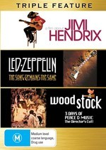 Jimi Hendrix / Led Zeppelin - The Song Remains The Same / Woodstock - Triple Feature (3 Disc Set) on DVD