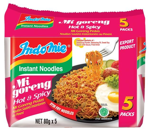 Indomie Hot & Spicy Noodles 80g 5pk