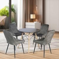 Fraser Country Modern Velvet Fabric Dining Chair with Metal Legs Set of 2 - Dark Grey
