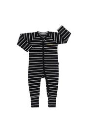Bonds Ribby Zippy Wondersuit - Black/New Grey Marle (12-18 Months)