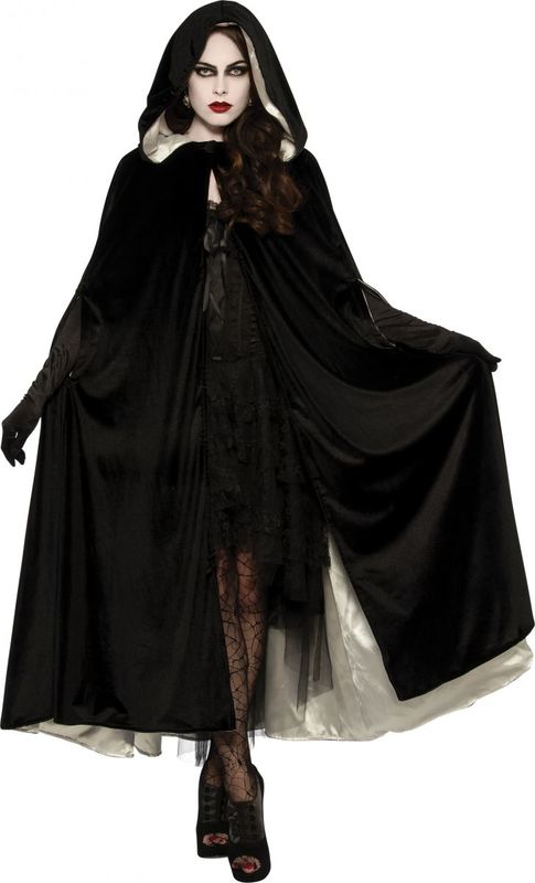 Black & White Velvet Hooded Reversible Robe