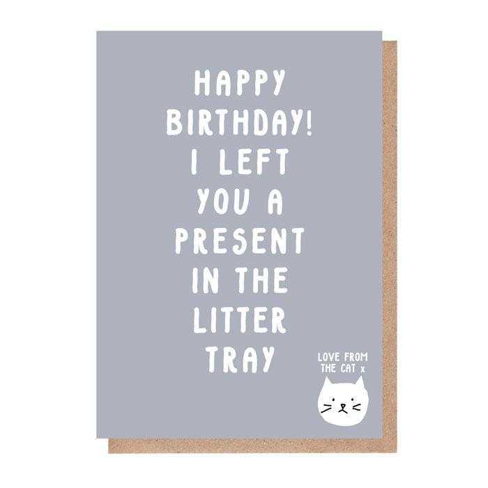From the Cat: Present in the Litter Tray Birthday Card image