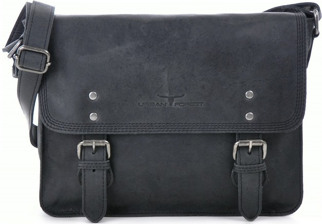 Urban Forest: Apache Small Leather Satchel Bag - Black