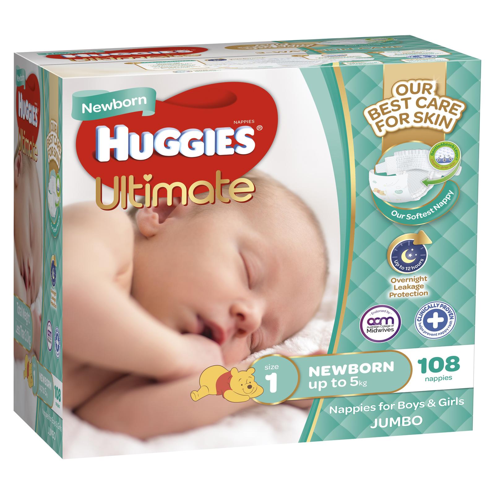 Huggies Ultimate Nappies: Jumbo Pack - Newborn Up to 5kg (108) image