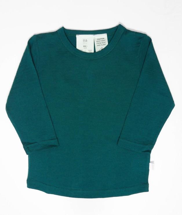 Babu: Merino Crew Neck Long Sleeve T-Shirt - Tui Green (2 Years)
