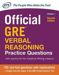 Official GRE Verbal Reasoning Practice Questions, Second Edition, Volume 1 by Educational Testing Service image