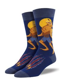 Mens - Navy Howling At The Moon Crew Socks