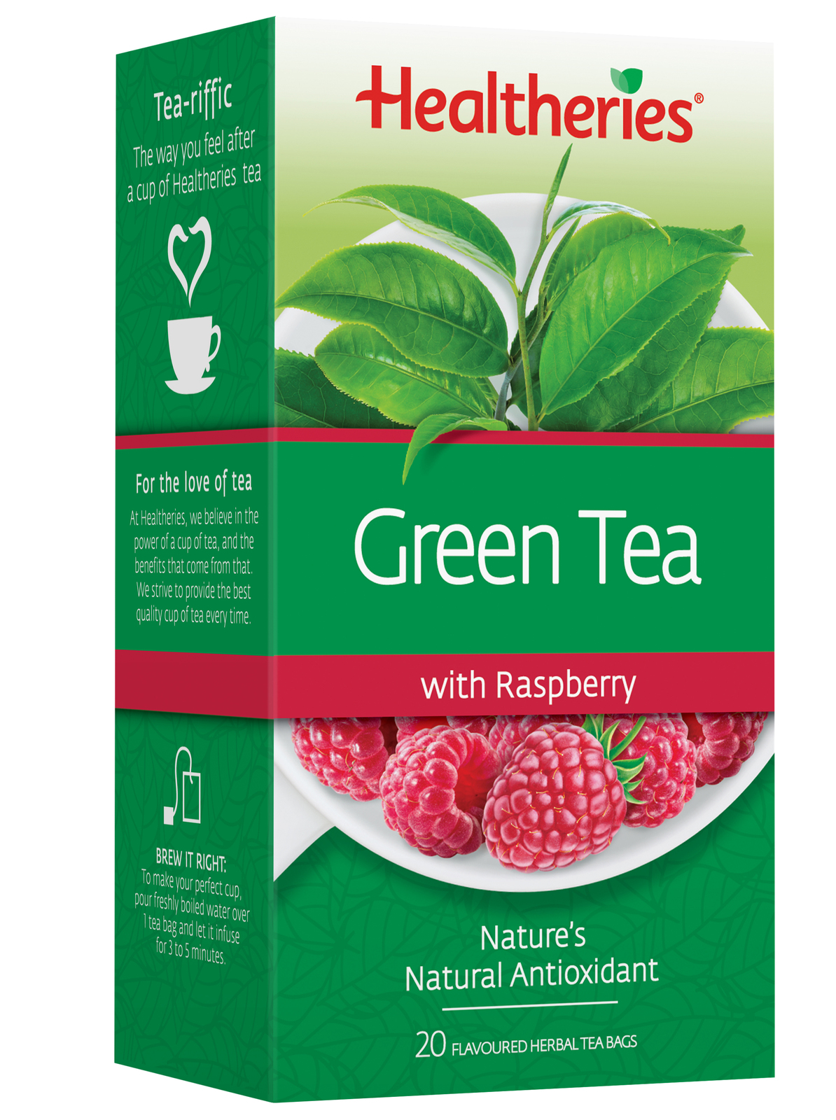 Healtheries Green Tea with Raspberry (Pack of 20) image