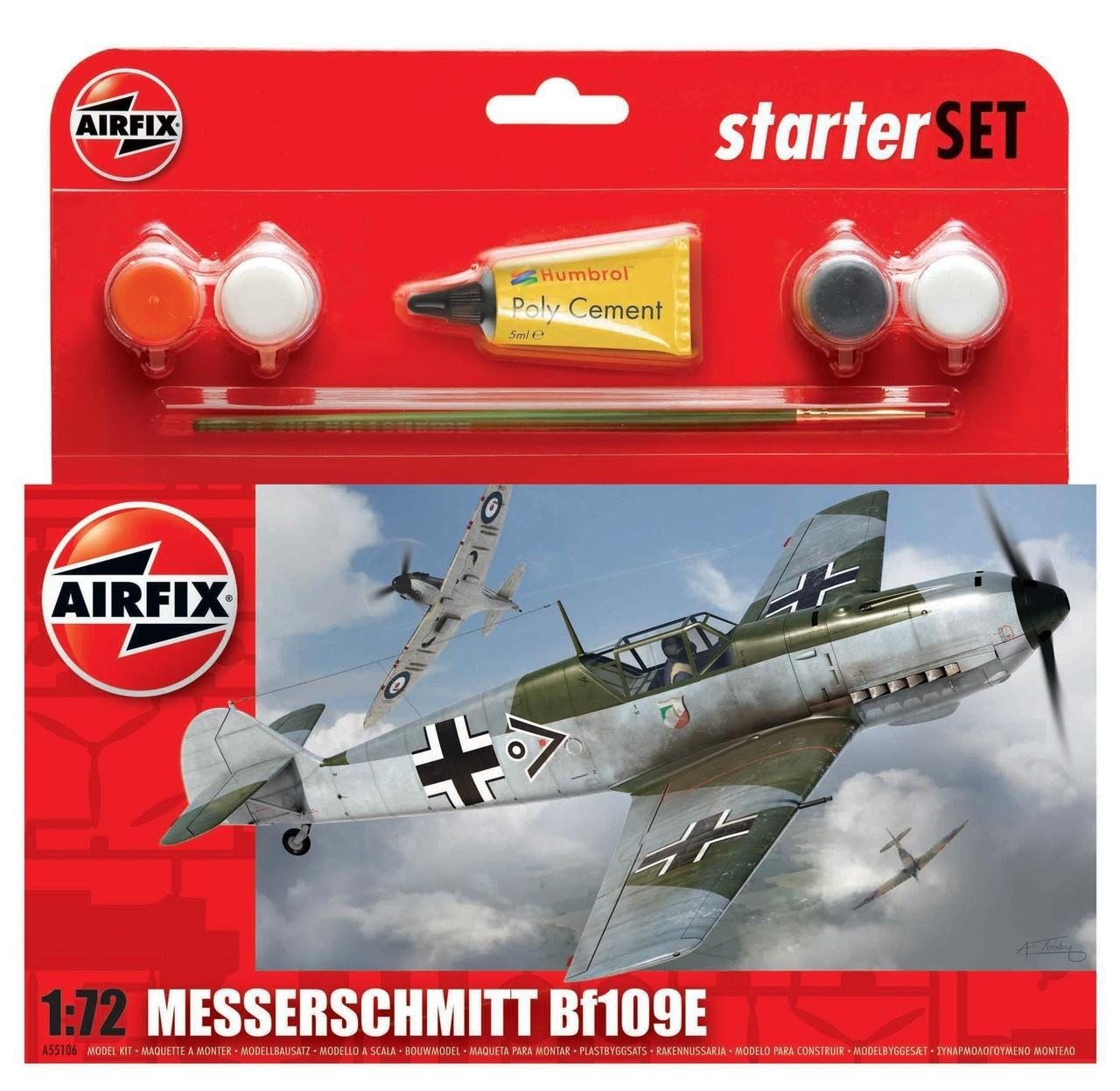 Airfix Messerschmitt Bf109E-3 Starter Set 1/72 Model Kit image