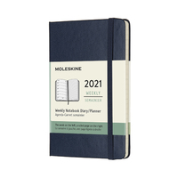 Moleskine: 2021 Diary Pocket Hard Cover 12 Month Weekly - Sapphire Blue
