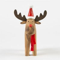 Rustic Rudolf With Hat Standing Decoration