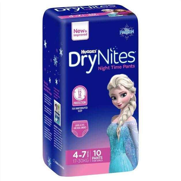Huggies: DryNites Night Time Girl Pants - 4-7 Years (10 Pack)