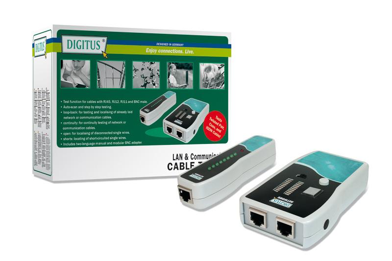 Digitus Cable Tester RJ45/RJ12/RJ11/BNC image