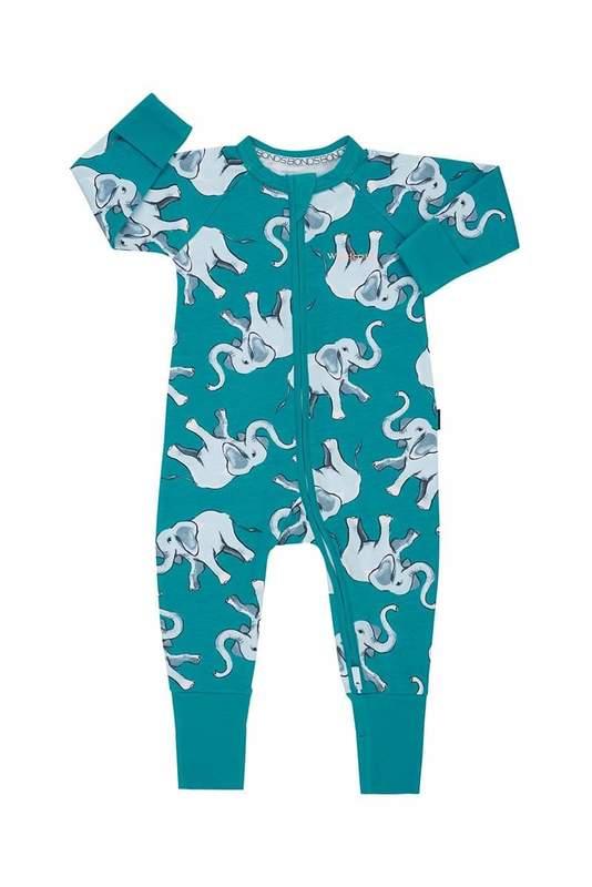 Bonds: Zip Wondersuit Long Sleeve - Pop Elephant Magic Finniegreen (0-3 Months)