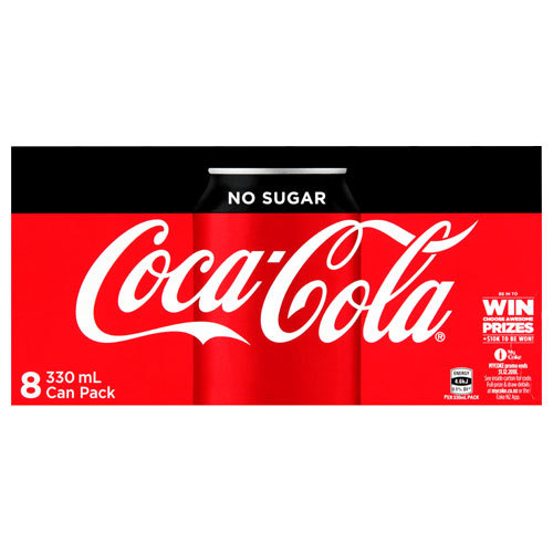 Coke No Sugar Soft Drink Cans - 8 Pack (330ml)