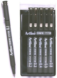Artline Drawing System Pen Black 1-2-3-4-5-8 (6 Pack)