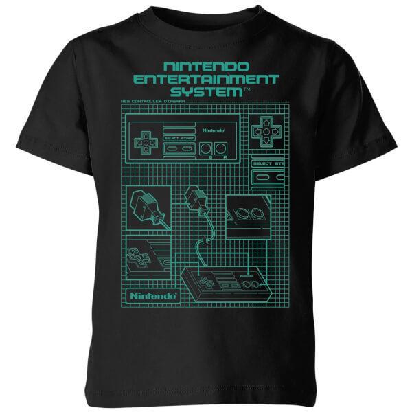 Nintendo NES Controller Blueprint Black Kids' T-Shirt - Black - 7-8 Years image