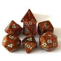 Chessex: Polyhedral 7-Die Set - Gold with Silver
