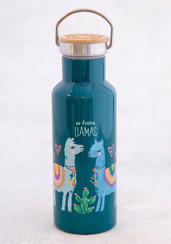 Natural Life: Stainless Steel Traveller Water Bottle - No Drama Llama