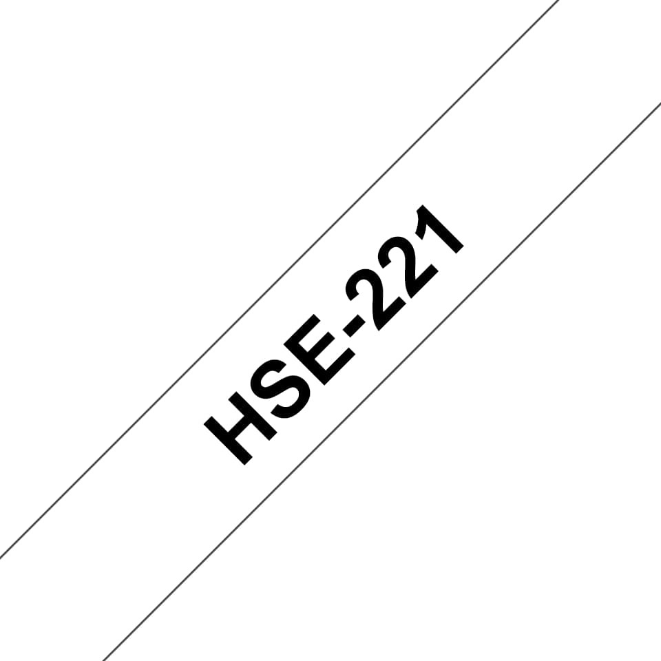 Brother HSe-221 Heat Shrink Tape - Black on White (8.8mm x 1.5m) image