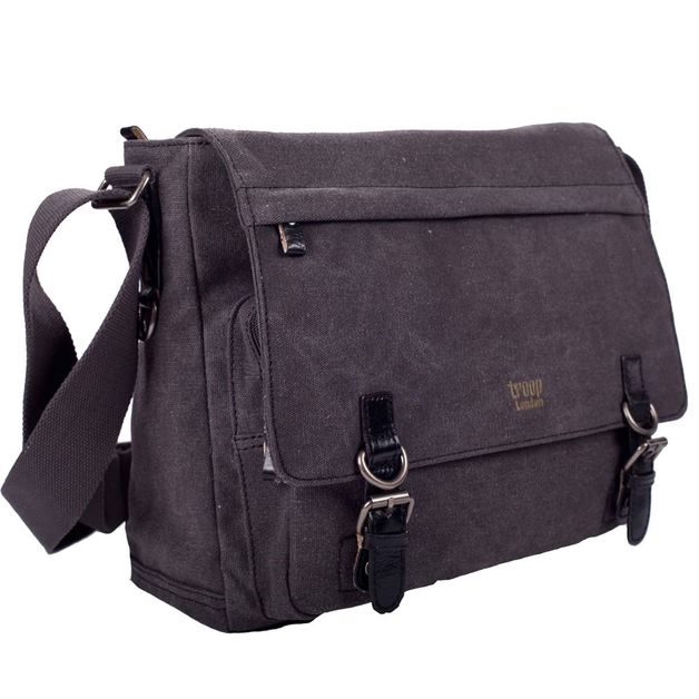 Troop London: Classic Laptop Messenger Bag - Black