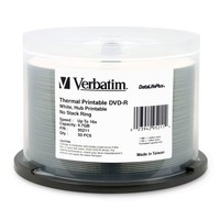 Verbatim DVD-R 4.7GB White Wide Thermal 16x (50 Pack) image
