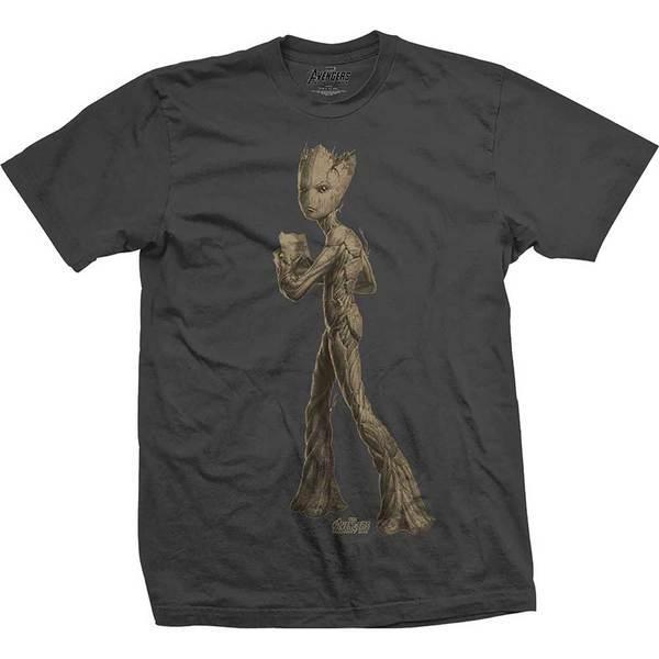Avengers Infinity War Teen Groot Flat Mens Charc TS: Large