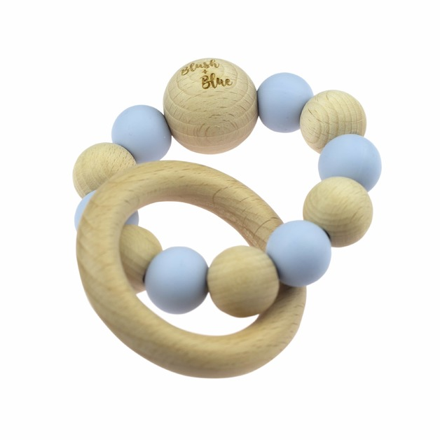 Blush + Blue Duo Rattle Teether - Blue