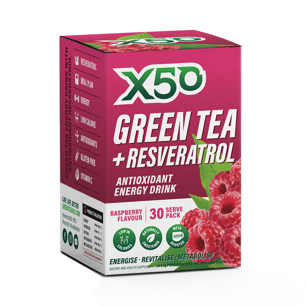 Green Tea X50 + Resveratrol - Raspberry (30 Sachets) image