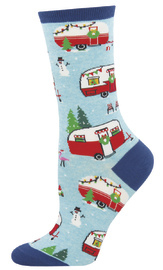 Women's Christmas Campers Crew Socks - Blue Heather