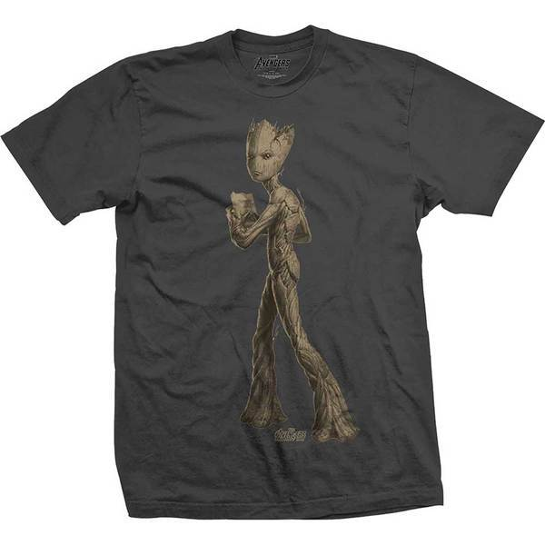 Avengers Infinity War Teen Groot Flat Mens Charc TS: Medium image