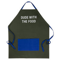 Apron With Pocket: Dude With The Food (Blue/Green)